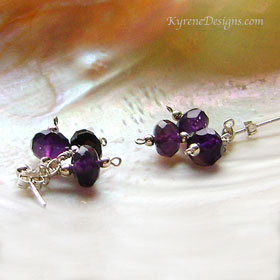 TRIPLET AMETHYST earrings