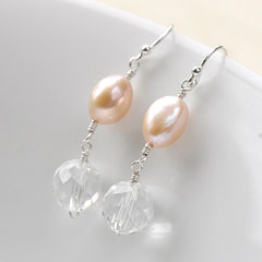 BALLET - pearl & rock crystal earrings